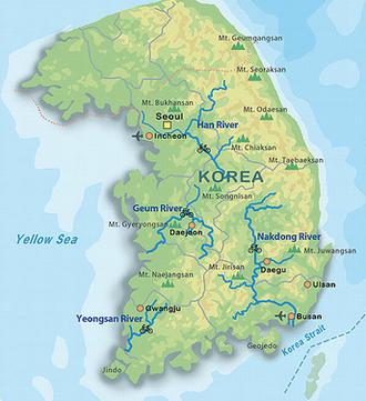 South Korea River Map Us Physical