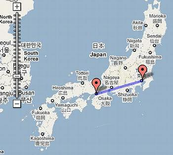 Red Markers Show The Planned JR Tokai Maglev Train Line From Tokyo In The  East To Nagoya And On To Its Westernmost Point, Osaka. (Map Courtesy Google  Maps)