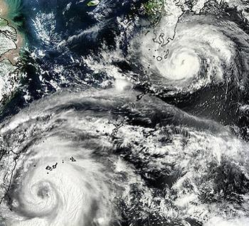 Typhoons Damrey and Saola