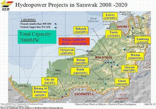 Sarawak dams map