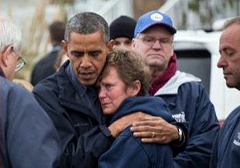 Obama, Sandy, survivor
