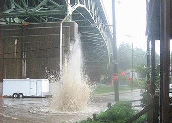 sewer line break