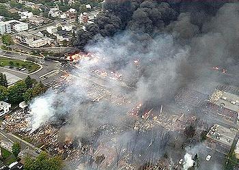 burning town
