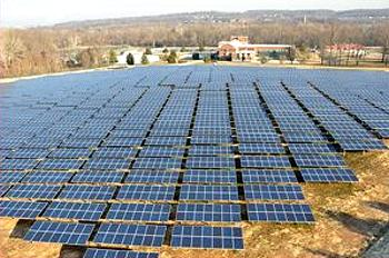 Opened in 2012, the Aqua Pickering Solar Farm at the Pickering WWTP in Schuylkill Twp is used for the treatment and transportation of water to approximately 500,000 residents of 27 municipalities in Chester Delaware and Montgomery counties in southeastern Pennsylvania. (Photograph courtesy Conergy)