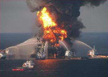 Deepwater Horizon on fire