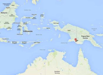 Red dot shows location of the MIFEE agro-industrial project in Merauke, Papua, Indonesia (Map courtesy Google Maps)
