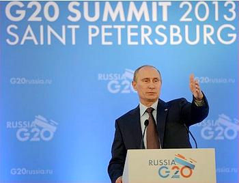 Russian President Vladimir Putin at his press conference announcing the outcome of the G-20 summit. (Photo courtesy Government of Russia)
