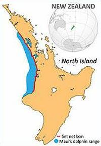 Maui's dolphin range map