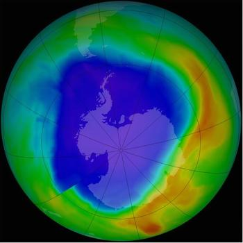 Ozone hole over the South Pole, Sept. 2013 (Image courtesy NASA)