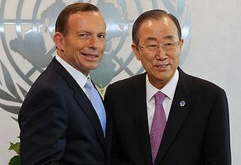 Australian Prime Minister Tony Abbott, left, meets with UN Secretary-General Ban Ki-moon at UN Headquarters, June 11, 2014. Ban has dedicated his administration to fighting climate change (Photo courtesy Office of the Prime Minister)