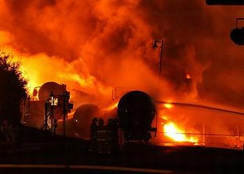 An oil train crash in July 2013 in Quebec killed 47 people and destroyed an entire town. (Photo credit unknown)