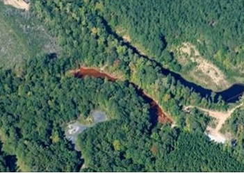 Aerial view of the affected area, Photo courtesy Catawba Riverkeeper)
