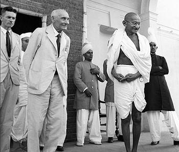Mahatma Gandhi, right, with Lord Pathwick – Lawrence Secretary of State of Government. House G.P. & F.P.